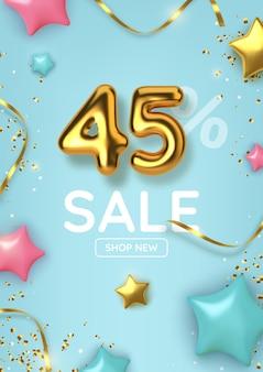 Venda promocional com desconto de 45 anos feita de balões de ouro realistas com estrelas