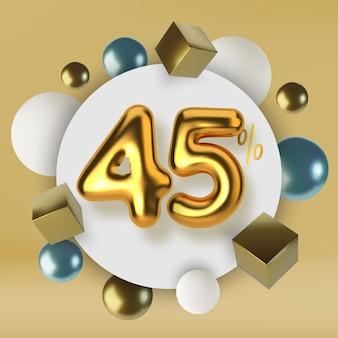 Venda promocional com desconto de 45 descontos em texto dourado 3d número na forma de balões dourados