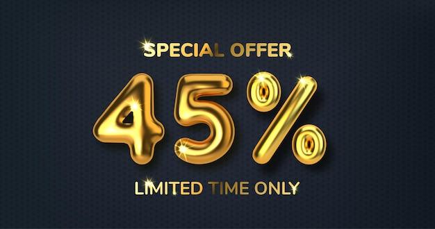 Venda promocional com desconto de 45% feita de balões de ouro 3d realistas