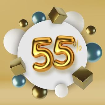 Venda promocional com desconto de 55 descontos em texto dourado 3d número na forma de balões dourados