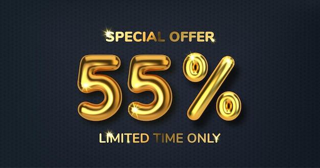 Venda promocional com desconto de 55 descontos feita de balões de ouro 3d realistas