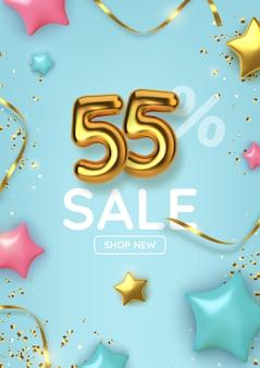 Venda promocional com desconto de 55 descontos feita de balões de ouro realistas com estrelas