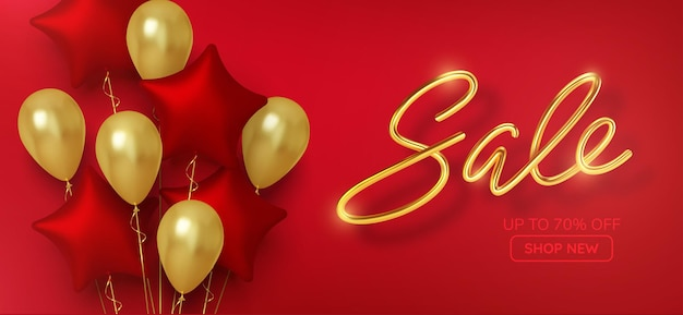 Venda promocional com desconto feita de balões de ouro 3d realistas com estrelas vermelhas