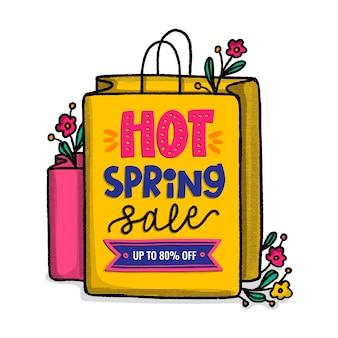 Venda promocional de primavera desenhados à mão