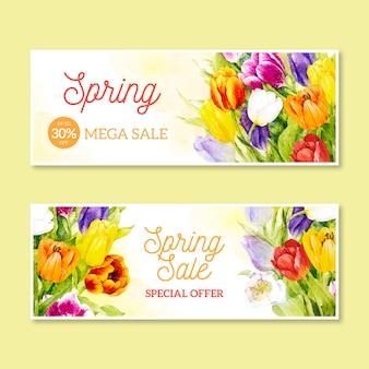 Venda promocional de primavera em aquarela