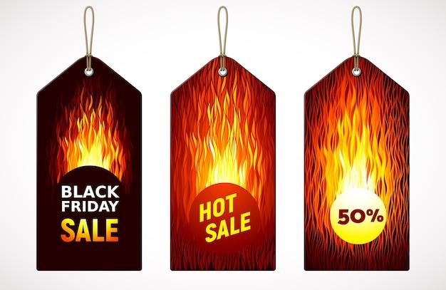 Venda quente da black friday na etiqueta de preço. conjunto de três variações. cores globais rgb
