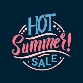 Venda quente de verão. caligrafia verão cartão postal ou cartaz design gráfico tipografia elemento. cartão postal de verão estilo caligrafia escrita à mão. olá verão em fundo azul