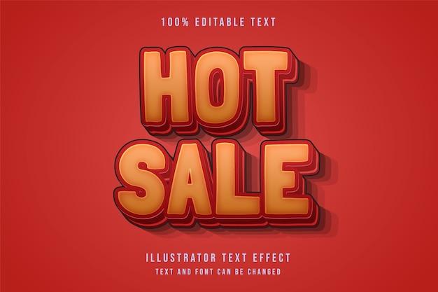 Venda quente, efeito de texto editável em 3d estilo de texto com sombra vermelha e gradação amarela