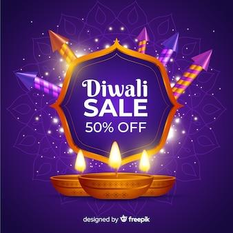 Venda realista de diwali com 50% de desconto