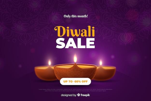 Venda realista de diwali com velas