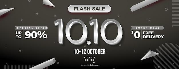 Venda relâmpago em 1010 com números prateados e ofertas especiais limitadas
