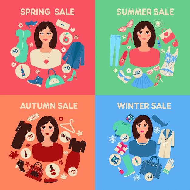 Venda sazonal de compras definida no design plano com mulher
