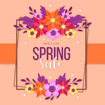 Venda sazonal de primavera em design de estilo de papel