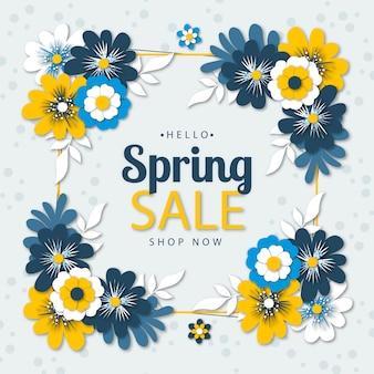 Venda sazonal de primavera no conceito de estilo de papel