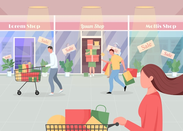 Venda sazonal em ilustração de cor plana de shopping. os consumidores compram produtos com oferta especial. shopaholics com pressa. personagens de desenhos animados 2d de clientes com interior de supermercado no fundo