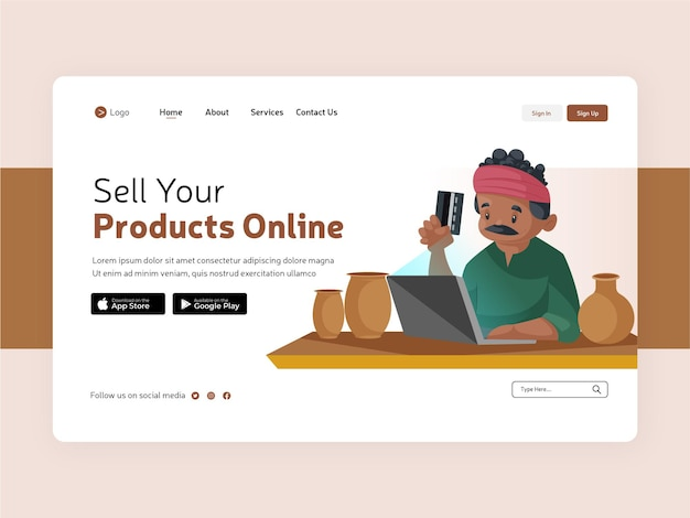 Venda seus produtos online design de página de destino