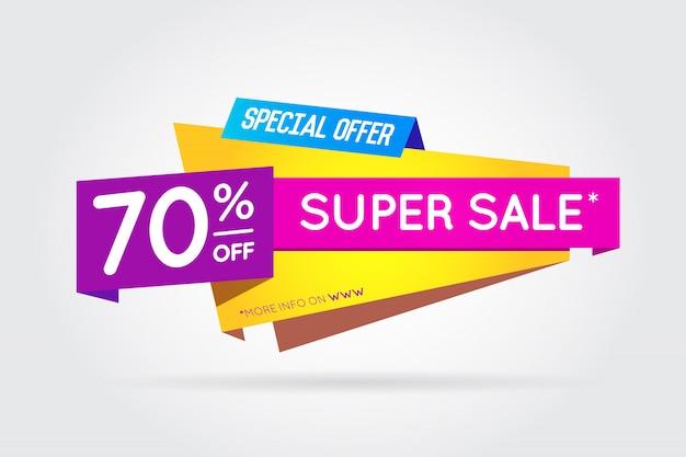 Venda sinal banner cartaz pronto para web e impressão. . super, mega, grande venda com oferta especial