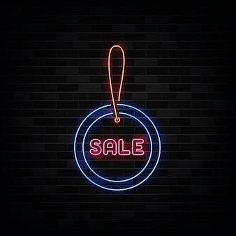Venda tag neon signs. modelo de design estilo neon