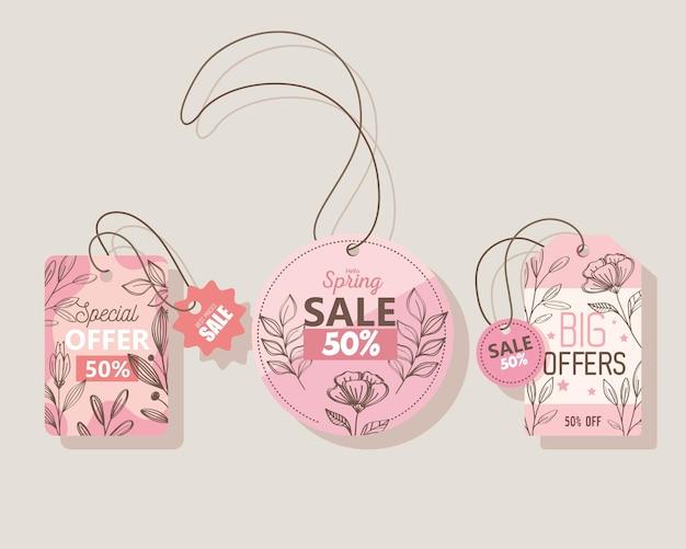 Venda temporada de primavera trata de etiquetas penduradas ícones ilustração design
