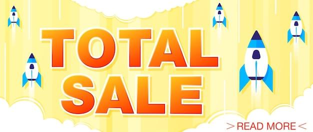 Venda total e banner de oferta especial em um fundo amarelo brilhante