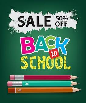 Venda, volta às aulas, cinquenta por cento de desconto em letras com lápis