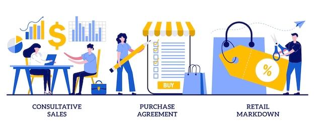 Vendas consultivas, acordo de compra, descontos no varejo. conjunto de marketing e promoção