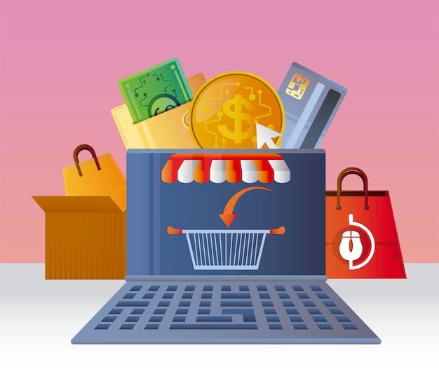 Vendas de comércio eletrônico de cesta de laptop de compras online, ilustração de mercado digital