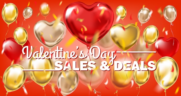Vendas de dia dos namorados e ofertas de banner de ouro vermelho com balões metálicos