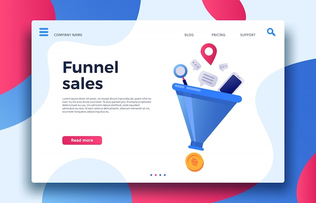 Vendas de funil. landing page geração de vendas de marketing comercial, conversão de compradores e gerações de lucro monetário