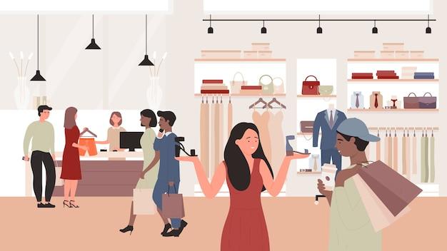 Vendas de moda em ilustração de loja de roupas. personagens de clientes homem mulher usando ofertas especiais de desconto, compradores comprando roupas novas em loja de moda, plano de fundo de shopping center