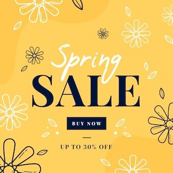 Vendas de primavera design plano com flores de doodle