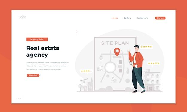 Vendas de propriedades explicam ilustração da planta do site de imóveis no conceito da página de destino