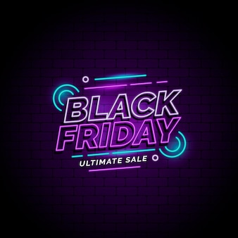 Vendas de sexta-feira negra em estilo neon