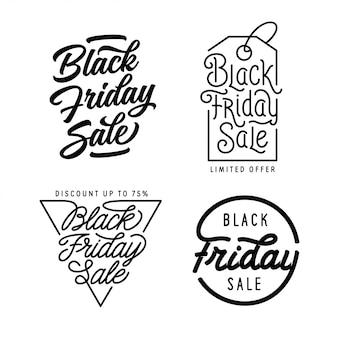 Vendas de sexta-feira negra letras conjunto de inscrições.