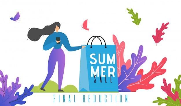 Vendas de verão e texto de promoção de redução final.