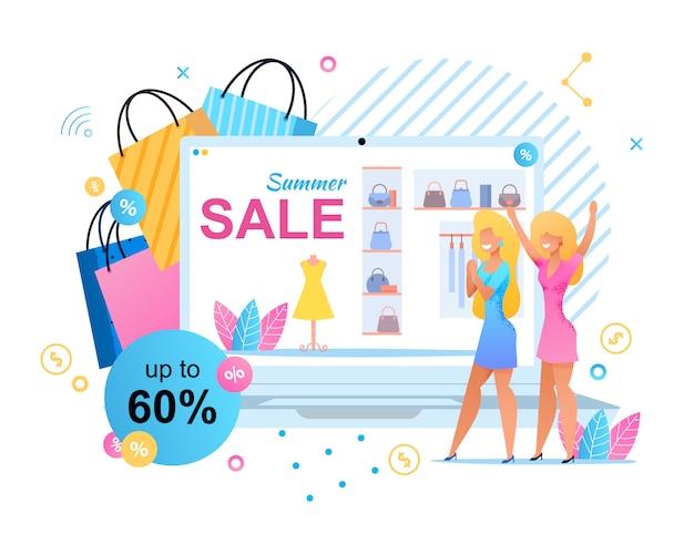 Vendas de verão na boutique para mulheres metáfora banner