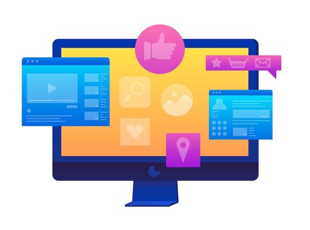 Vendas e compras online. trabalho de design de marketing social de mídia.