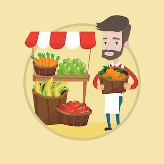 Vendedor ambulante com frutas e legumes.