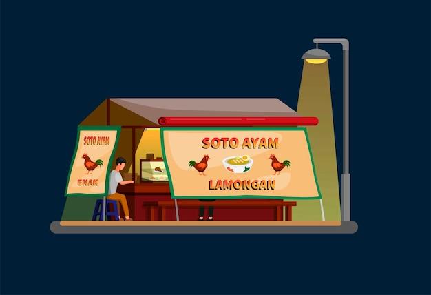 Vendedor ambulante de restaurante de sopa de galinha. comida de rua tradicional indonésia no conceito de cena noturna em vetor de ilustração plana de desenhos animados