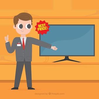 Vendedor apontando na tv