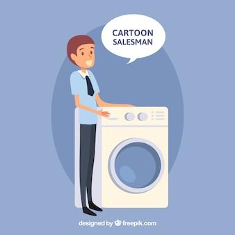Vendedor, com, lavadora roupa