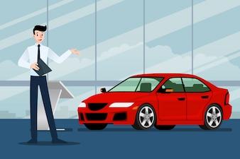 Vendedor de empresário está presente seu carro de luxo.