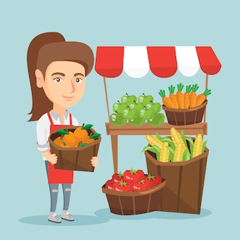 Vendedor de rua caucasiano com frutas e legumes
