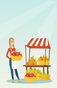 Vendedor de rua com frutas e legumes.