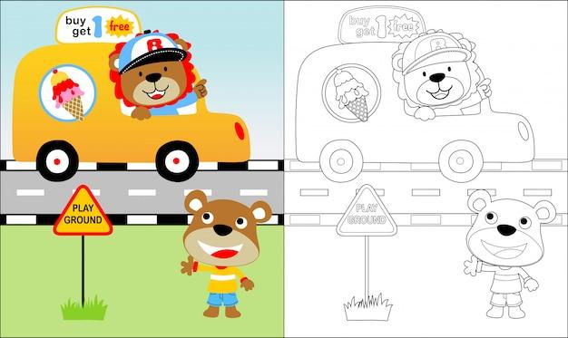 Vendedor de sorvete com bom desenho animado de animais