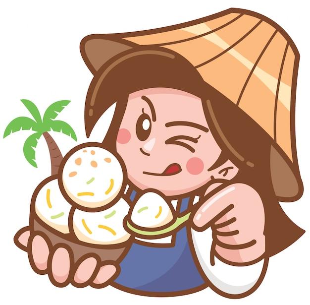 Vendedor de sorvete de coco dos desenhos animados, apresentando comida