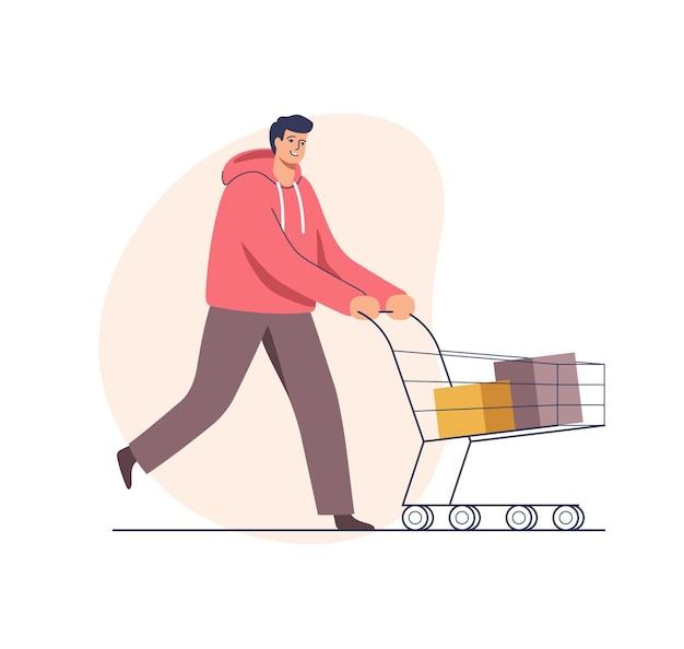 Vendedor de supermercado homem fazendo compras para feriados empurrando carrinho de compras
