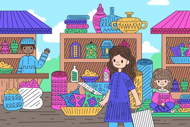 Vendedor e cliente de bazar árabe
