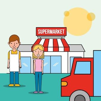 Vendedor e cliente mulher frente supermercado caminhão transporte