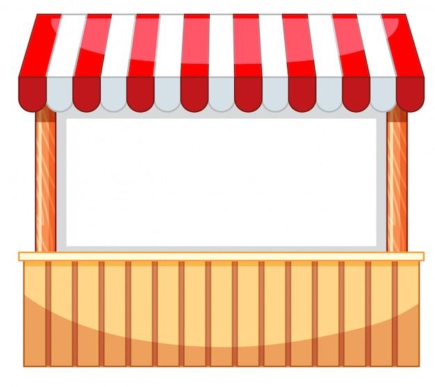 Vendedor no parque de diversões com barra de madeira